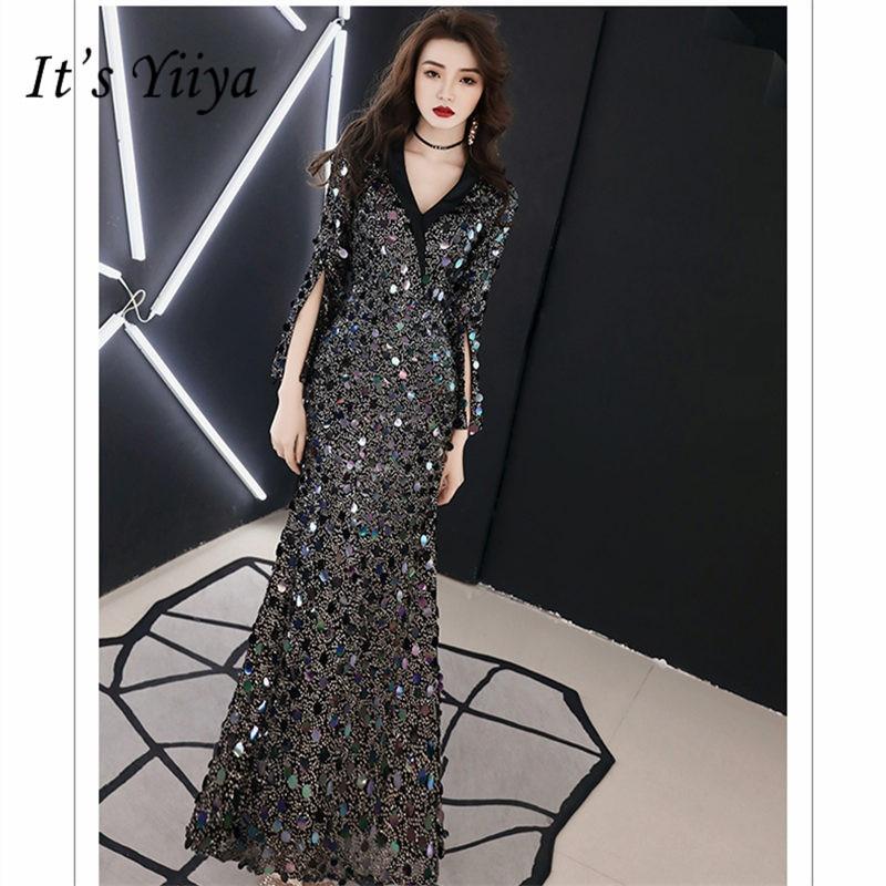 It's Yiiya Evening Dress Elegant V-Neck Three Quarter Women Party Night Dresses Blue Sequins Floor Length Robe De Soiree E793