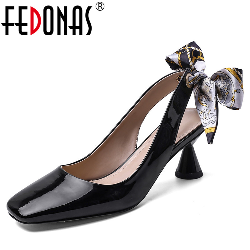 FEDONAS Brand Design Pumps Women Spring Summer Square Toe Shallow Pumps Basic Party Casual Shoes Woman Newest Cross-Tied Pumps