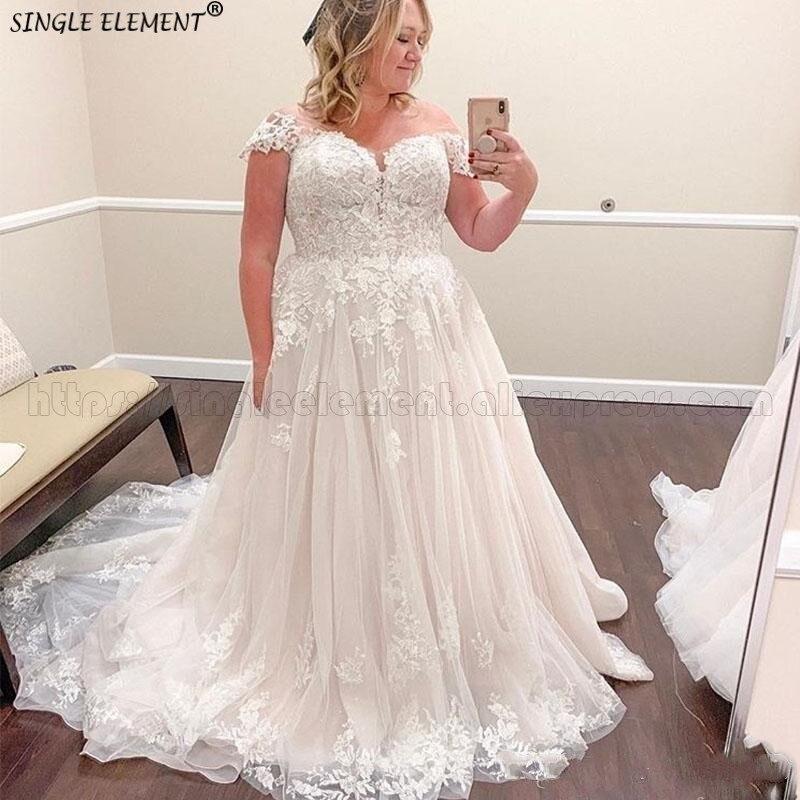 Lace Plus Size Wedding Dresses Bridal Gown Off The Shoulder Sweep Train Bridal Gown Robe De Mariee