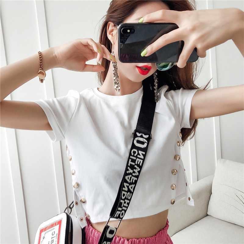 2019 Sexy gumy lateksowej topy dla kobiet moda O-Neck unikalne mocno T-shirt Gummi 0.4mm