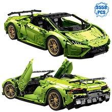 Ekspert techniczny znani sport wyścigi samochodowe klocki budowlane Moc Green Speed cegły pojazdu montaż zabawek na prezenty urodzinowe dla chłopców