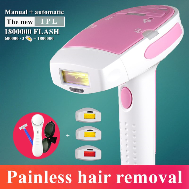 New 3in1 1800000 Flashes IPL Laser Hair Removal Machine Laser Epilator Permanent Bikini Trimmer Electric depilador a laser women 1