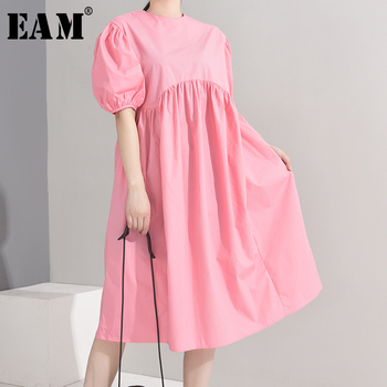 [EAM] Women Brief Pleated Vintage Dress New Round Neck Short Puff Sleeve Loose Fit Fashion Tide Spring Summer 2020 1U48911