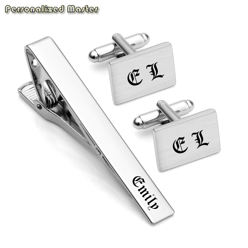 Personalized Master Custom Engrave Inital Name 3pcs Stainless Steel Cufflinks and Tie Clip Bar Set for Men Fathers Day gift