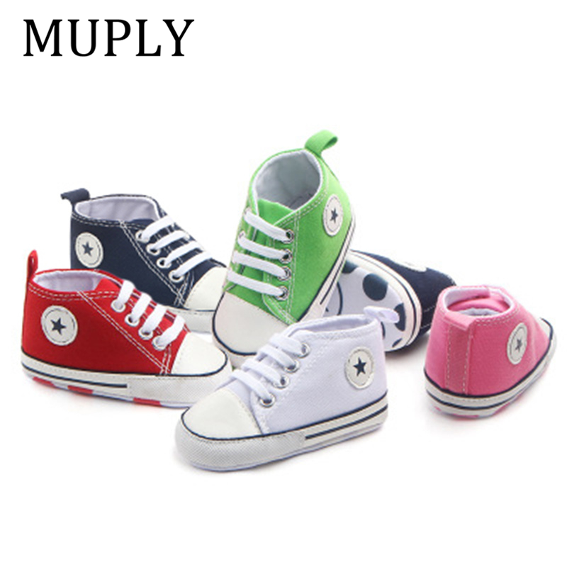 2020 Canvas Baby Shoes Spring Autumn Girls Boys First Walkers Print Star Baby Sneakers For Newborn Kids Anti-Slip Shoes