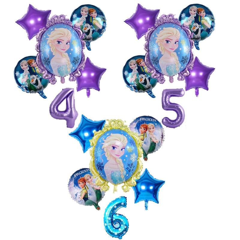 Disney Elsa Congelado Princesa Dos Desenhos Animados Série 6 pçs/set Suprimentos Folha Número Balões Decorações Do Partido Balões de Aniversário Dos Miúdos Brinquedos