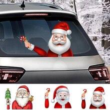 Kerst Decoratie Kerstman 3D PVC Zwaaien Auto Stickers Styling Ruitenwisser Decals Achterruit Decoratie