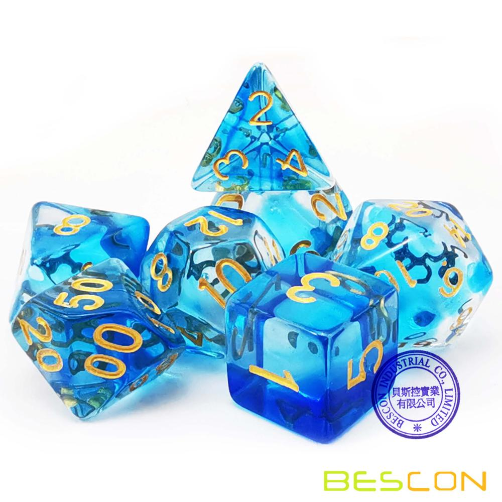 Bescon Crystal Blue 7-pc Poly Dice Set, Bescon Polyhedral RPG Dice Set Crystal Blue, Blush, Grass, Purple, Black, Pink Cloud