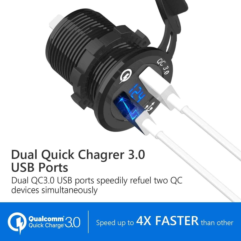 12 V/24 V מטען מהיר 3.0 QC3.0 עמיד למים Dual USB מטען לרכב מד מתח 60cm כבל 10A נתיך עבור רכב סירת אופנוע משאית גולף
