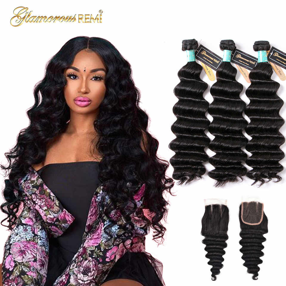 Malaysia Loose Deep Wave Bundles With Closure 100% Human Hair Bundles With Lace Closure Weave Extensions Remy Hair Middle Ratio
