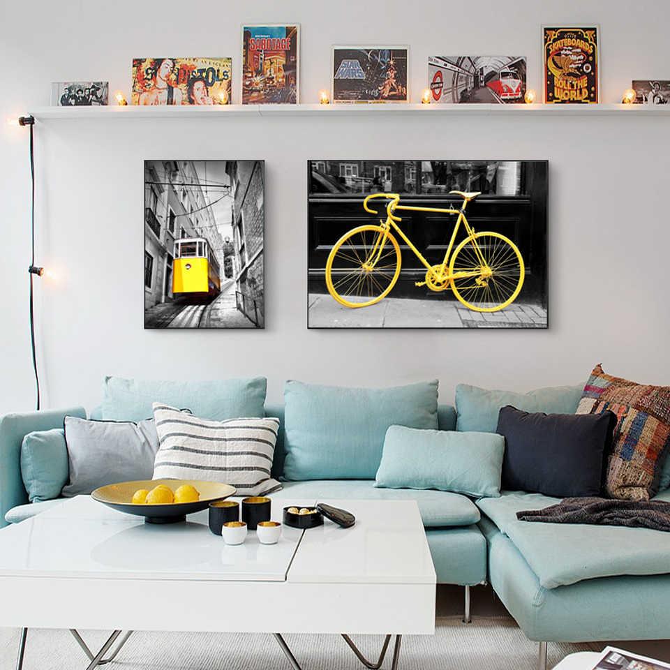 Плакат настенный художественный холст картины принты в скандинавском стиле желтые велосипеды поезда в черно-белом фоне модульные Картины домашний декор