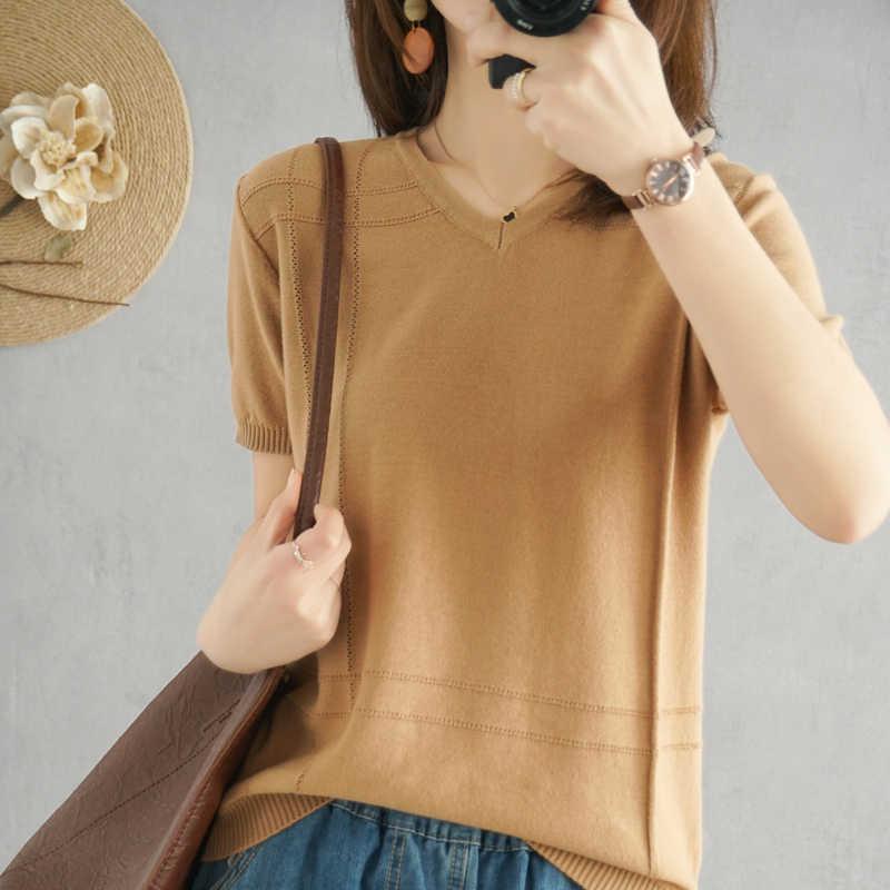 2020 새로운 패션 봄과 여름 니트 반팔 여성 v-목 풀오버 패션 슬리브 스웨터 얇은 울 스웨터