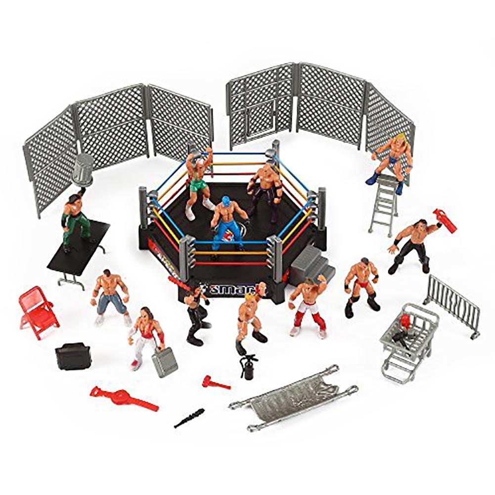 Mini Wrestling Ring Battle Pack-Play set with Action Figures DIY Realistic Wrestler Building Pretend Play Educational Toy