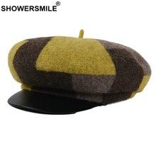 Showersmile женская шапка зимняя Шерстяная кепка newsboy в британском