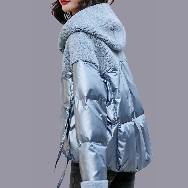 Mode femmes chaud laine à capuche Long manteau dames coupe-vent fourrure à capuche épaissir poche manteaux Parka rembourré vestes hiver femme