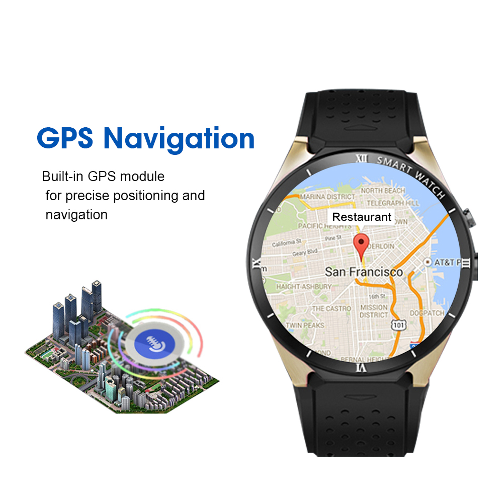 Kaimorui KW88 Pro Android 7,0 Смарт часы с камерой 1 Гб + 16 Гб Bluetooth MTK6580 3G sim карта gps WiFi умные часы для IOS Android - 3