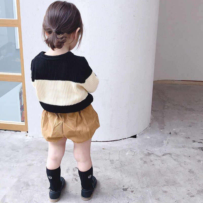 Детский зимний черно-белый свитер в полоску осенние свитера для маленьких мальчиков и девочек топы, одежда для маленьких девочек свитера для маленьких мальчиков и девочек