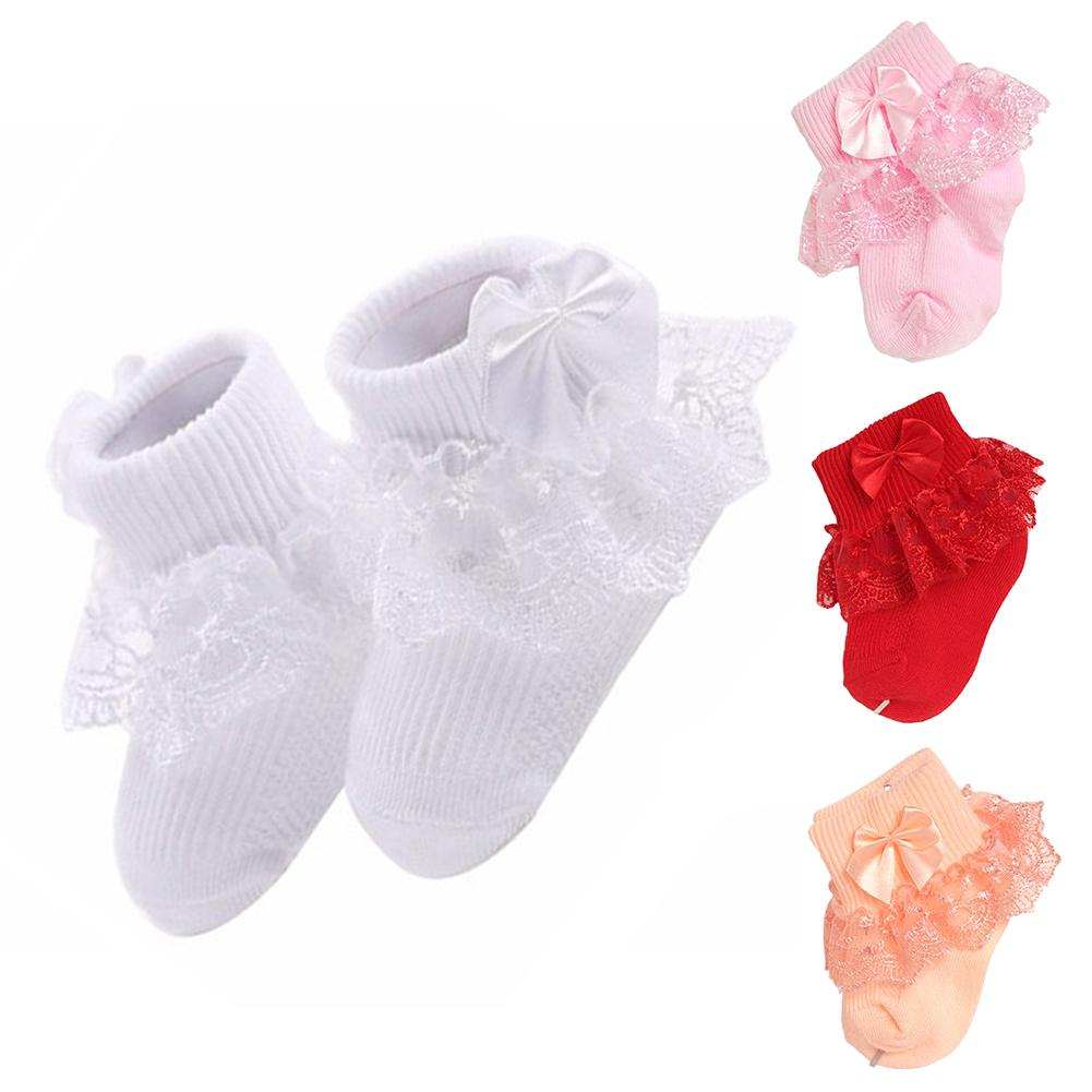 Baby Girls Socks With Bow Tie Lace Ruffle Princess Cotton Sock With Ribbons Multi Colors Gray Red Black Pink White Princes Socks