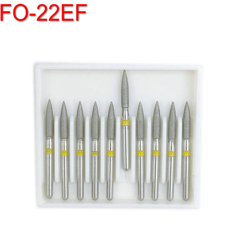 10Pcs Dental Diamond Burs Drill For Teeth Polishing High Speed Handpiece FG 1.6M Dia-bur Extra Fine FO-22EF