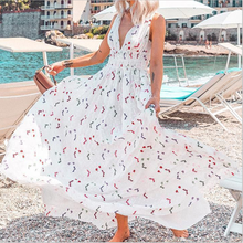Summer Bohemia Women Long Dress Small Floral Printed Deep V Sleeveless Dress Slim Big Swing High Waist White Mid-Calf Dress(China)