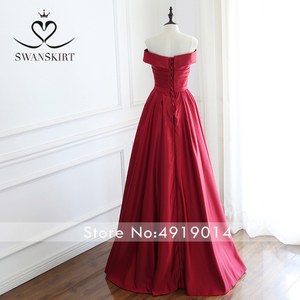 Image 2 - Red Off Shoulder Satin A Line Evening Dress Swanskirt Sweetheart Lace up Court Train Bride gown Princess robe de mariee A233