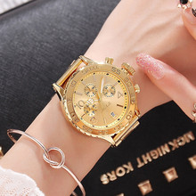 цены Women Gold Watches Luxury Brand Ladies Big Dial Quartz Watch Date Six-Pin Full Stainless Steel Female Clock Watches reloj mujer
