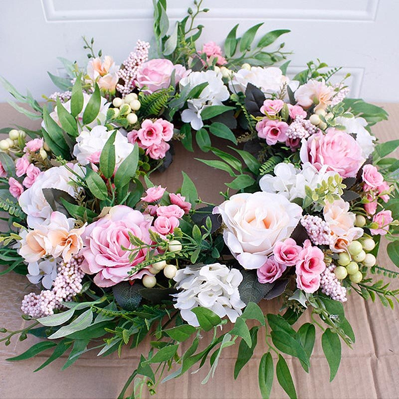 wedding : Artificial Flower Wreath - 22 inch Spring Round Artificial Rose Garland For Wedding Decoration Home Wall Party Hanging Decor