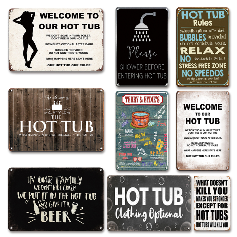 Забавные мы приглашаем вас посетить нашу гидромассажная Ванна металла плакат жестяная вывеска Винтаж Ванная комната стены декоративная ме...