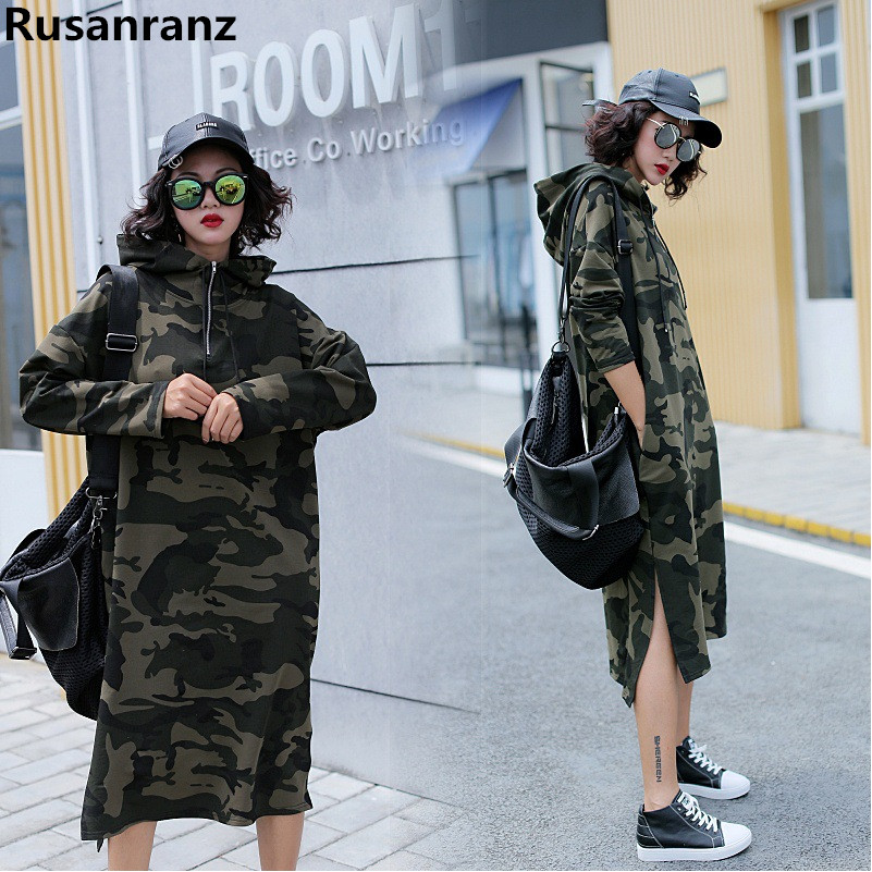 2019 Spring Autumn New Korean Large Size Camo Long Knee Long Sleeve Women Hoodies Free Oversized Hoodie