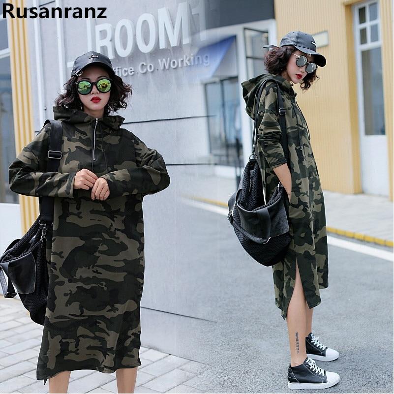 2019 Spring Autumn New Korean Large Size Camo Long Knee Long Sleeve Women Hoodies Free Oversized Hoodie