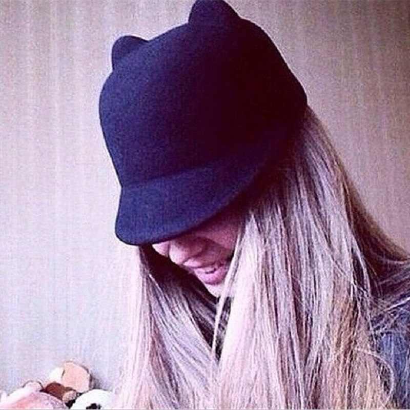 Moda inverno Mulheres Chapéus 6 Cores Europa e América Rússia Venda Quente Chapéu Diabo Bonito Kitty Cat Ears Lã Caps