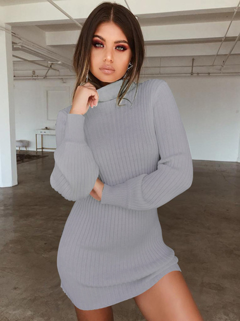 2020 Sexy turtleneck knitted dress fall winter women's