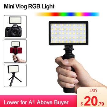 CL-120C 3200K-5600K Mini Vlog luz led para vídeo trípode Kit CRI 95 atenuable colorido RGB Luz de relleno iluminación fotográfica