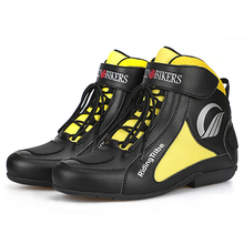Bottes de Moto jaunes pour hommes, chaussures de course tout terrain, respirantes, pour Motocross, équipement de protection, été