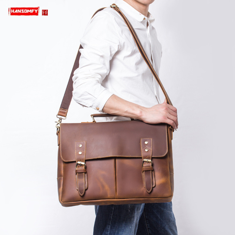 Handmade Crazy Horse Leather Men's Briefcase Men Shoulder Messenger Bag Retro First Layer Leather Handbags Casual Laptop Bags