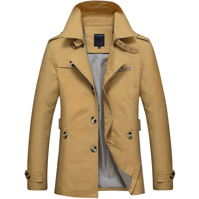2021New Business Jacket Mens Fashion Spring Men Long Cotton Windbreaker Jackets Overcoat Male Casual Autumn Trench Outwear Coat 2