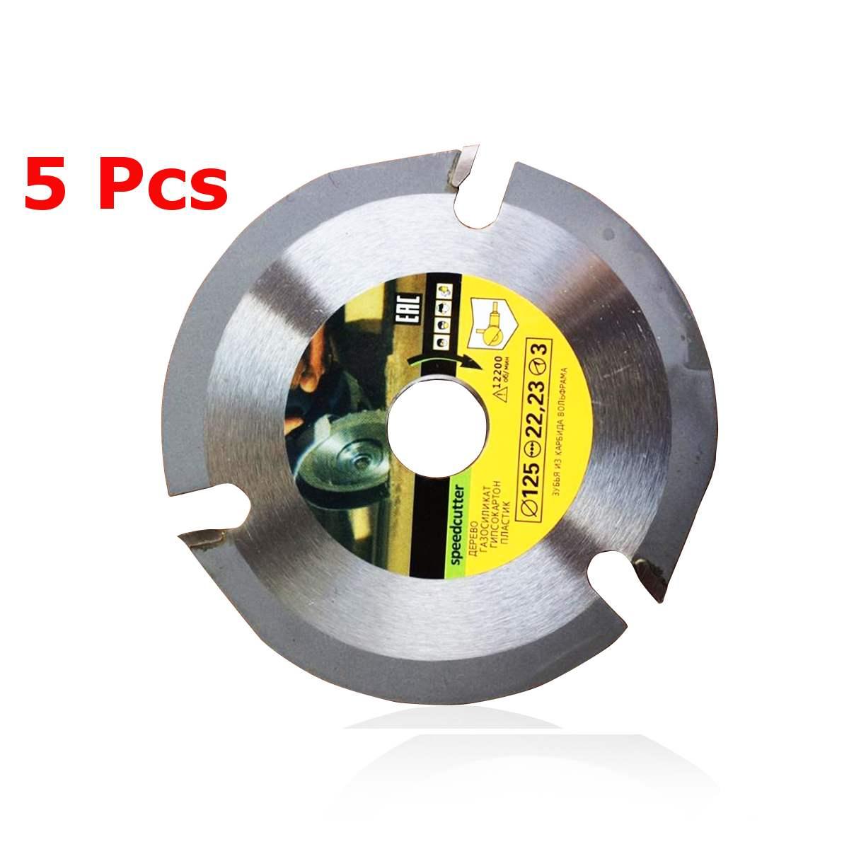 5Pcs 125mm 3 T Circular Saw Blade Multitool Grinder Saw Disc Carbide Tipped Wood Cutting Disc Carving Disc Tool Multitool Blades