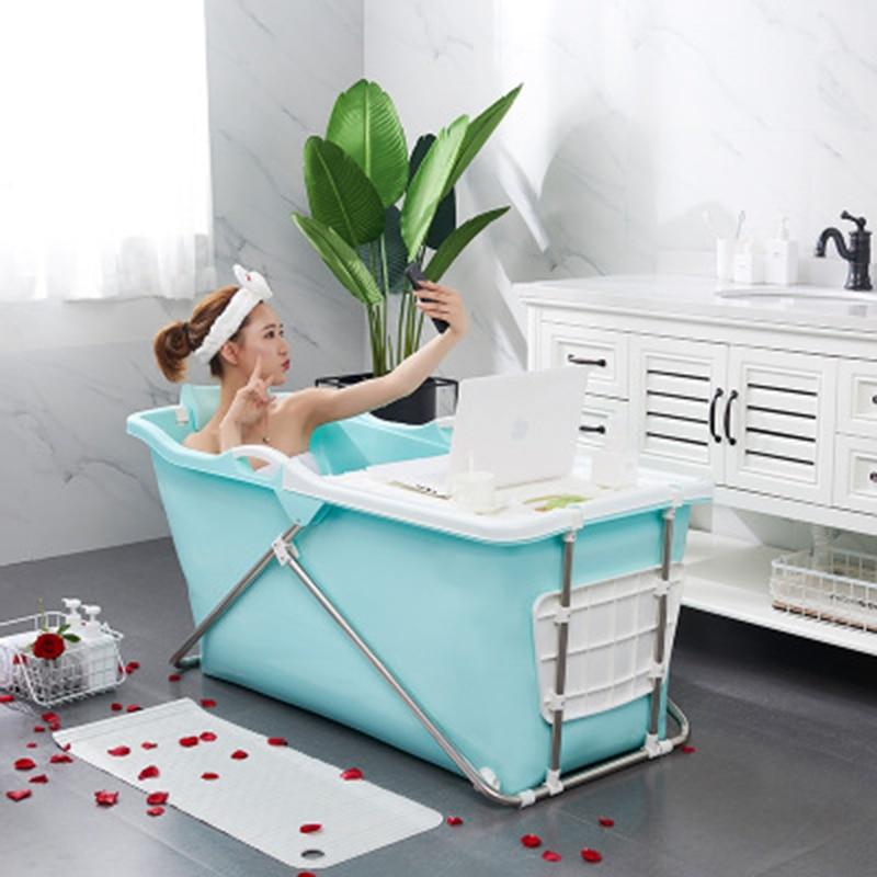 Baignoire adulte pliant seau de bain en plastique épais en acier grand baril de bain adulte assis baignoire avec siège enfants bain de natation