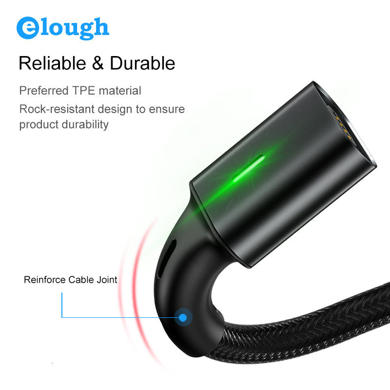 Elough Quick Magnetic Charger 3.0 4.0 Micro USB Cable for iPhone Samsung Xiaomi Fast Magnetic Phone Charging Cord Type C Cable 5