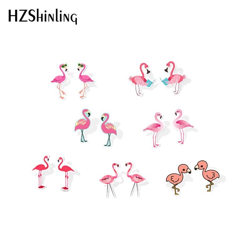 2019 новые акриловые серьги с розовым фламинго, забавные серьги с Фламинго из смолы, серьги-гвоздики с птицами, подарки для детей, серьги из эп...