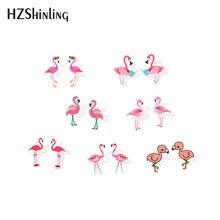 2019 nova rosa flamingo acrílico brinco engraçado flamingos resina brincos pássaros presentes da orelha do parafuso prisioneiro crianças epóxi brinco
