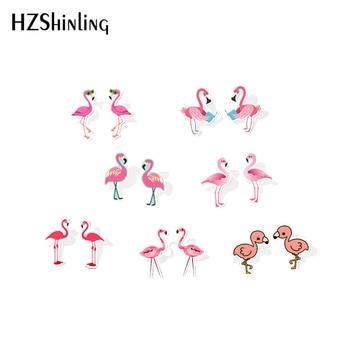 Акриловые серьги с розовым фламинго, забавные серьги из смолы с фламинго, детские серьги-гвоздики с эпоксидной смолой, 2019
