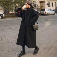 Frau Lange Mantel Mode Koreanische Adrette Retro Vielseitig Windjacke Casual Warm Woolen Mantel Oversize 2021 Frühling Frauen Mantel