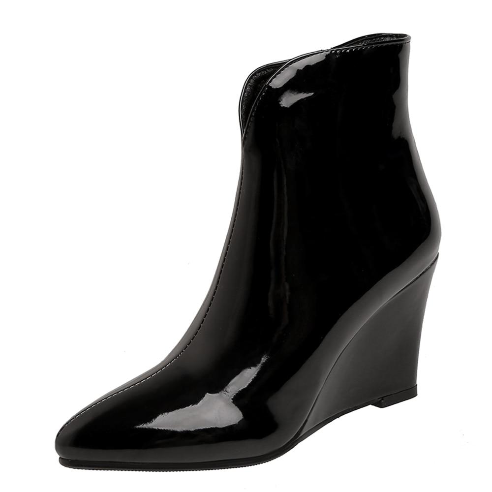 Botines Tacón de Cuña de charol con plataforma y punta en V, botas de invierno con estampado de serpiente y cremallera lateral