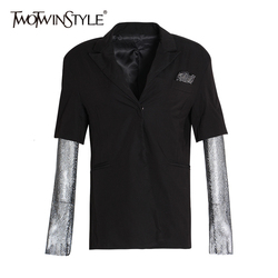 TWOTWINSTYLE Diamanten Mesh Lange Mouwen Patchwork Zwarte Blazer Jas Vrouwen 2019 Herfst Elegante Dames Mode Kleding Streetwear