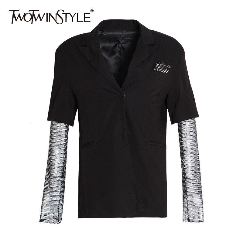 TWOTWINSTYLE Diamonds Mesh Long Sleeve Patchwork Black Blazer Coat Women 2020 Autumn Elegant Ladies Fashion Clothing Streetwear