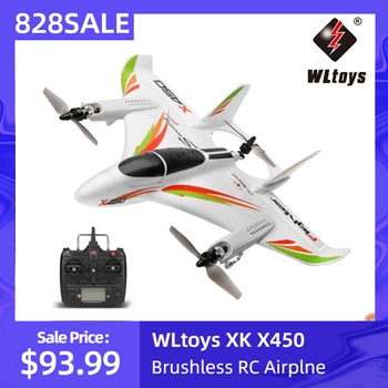WLtoys XK X450 2.4G 6CH 3D/6G RC Airplane Brushless Vertical Takeoff LED RC Glider Fixed Wing RC Aircraft RTF RC Toy for Kid недорого