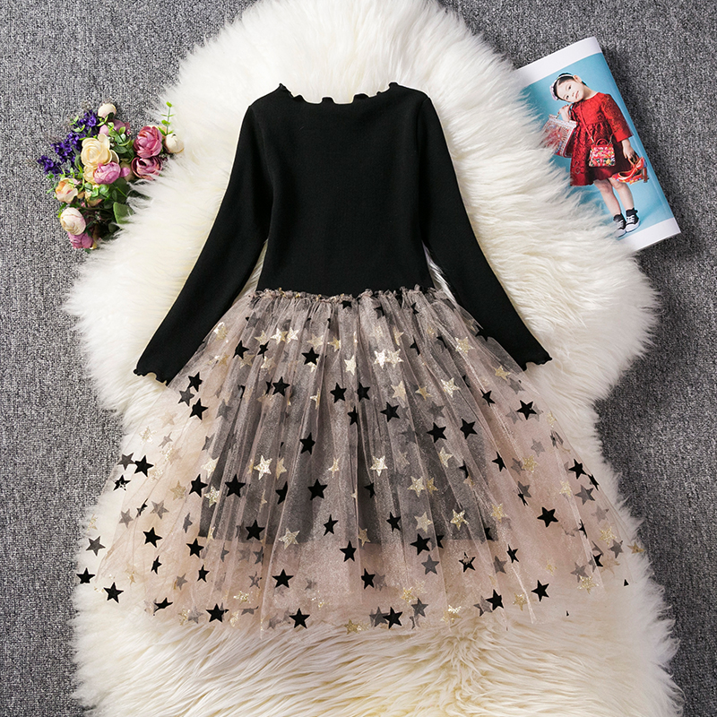 3-8 Years Long Sleeves Girls Casual Clothes Star Pattern Kids Dresses For Girls Party Children Clothing For Autumn Winter Wear