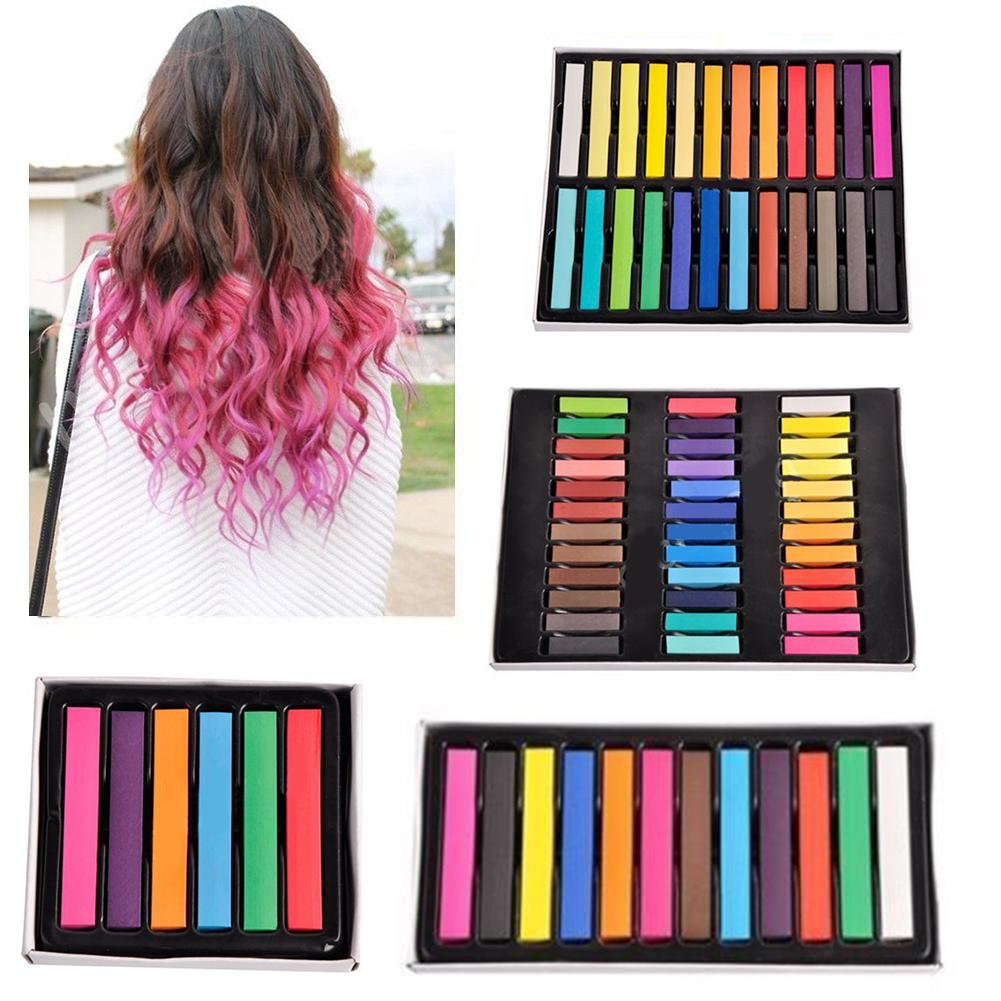 6/12/24/36 Color Salon Hair Temporary Chalk Dye Colour Kit Non-toxic Pastels