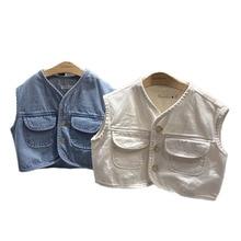 Kids Vest Waistcoats Clothing Baby Spring Denim Jeans Outerwear Jacket Girls Children